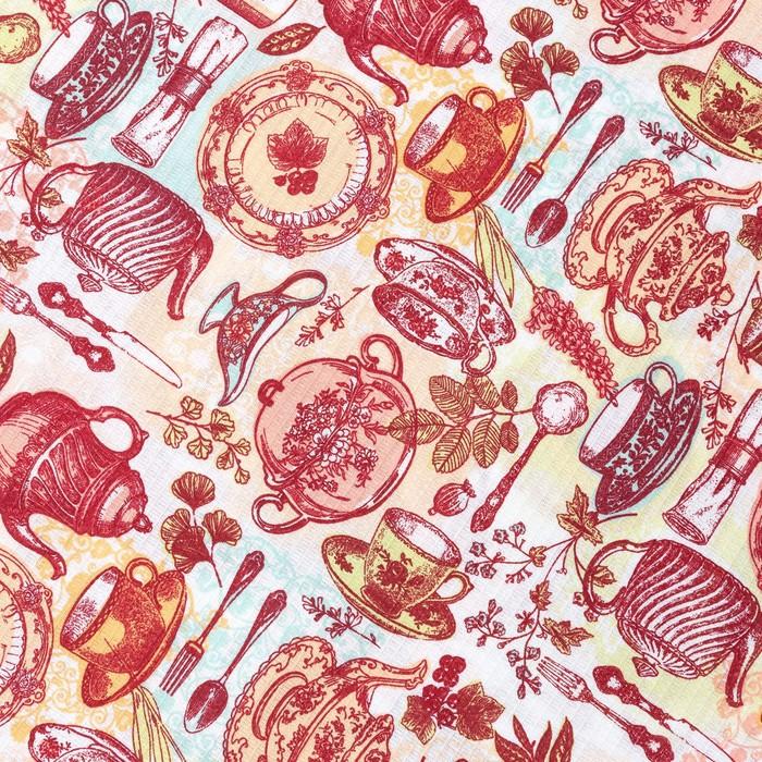 Шторы для кухни Доляна «Чайные традиции», 150 × 180 см 2 шт., подхваты 2 шт., 162 г/м², 100%-ный хлопок