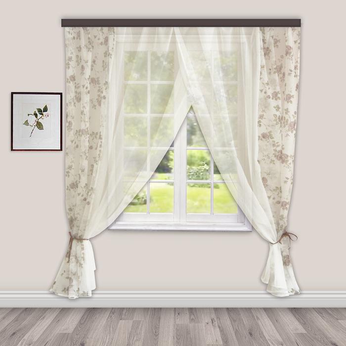 Комплект штор для кухни Акварель 280х160 см, коричневый, 100% п/э