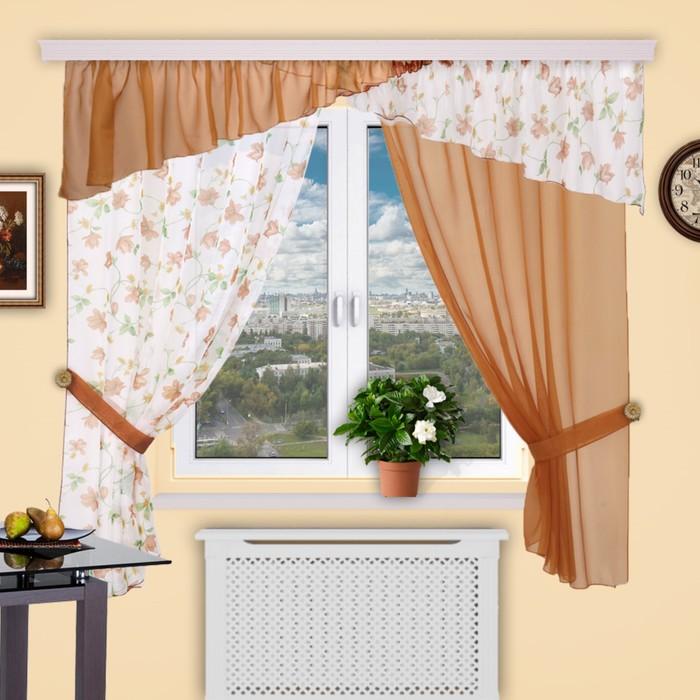 Шторы кухонные «Домино», 140 × 180 см - 2 шт, 400 × 50 см - 1 шт,  цвет 269
