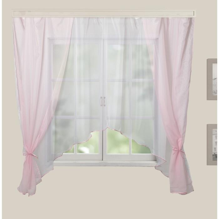 Комплект штор для кухни Шарм 280х160 см, розовый-белый, 100% п/э