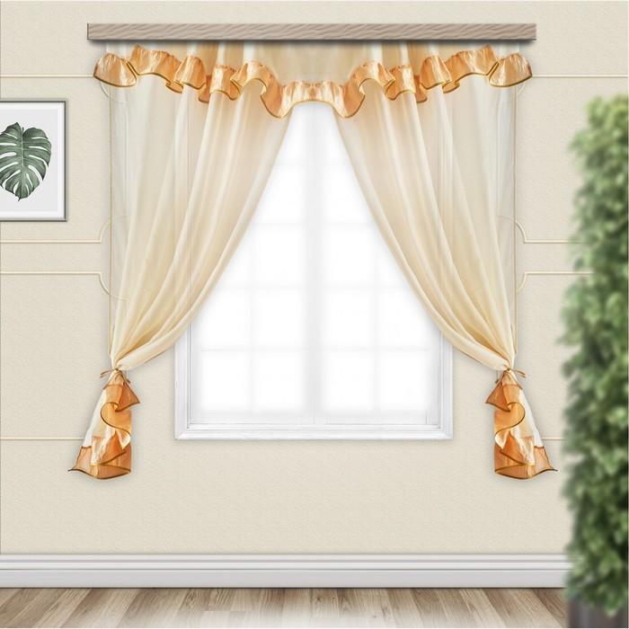 Комплект штор для кухни София с ламбрекеном 280х160 см, золото, пэ 100%
