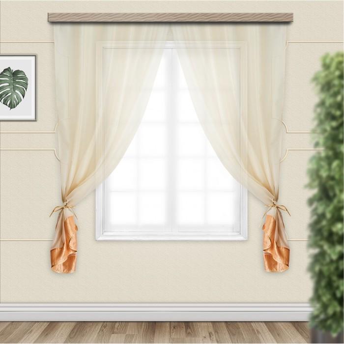 Комплект штор для кухни София 270х160 см, золото, пэ 100%
