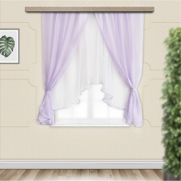 Комплект штор для кухни Шарм 280х160 см, сирень-белый, пэ 100%