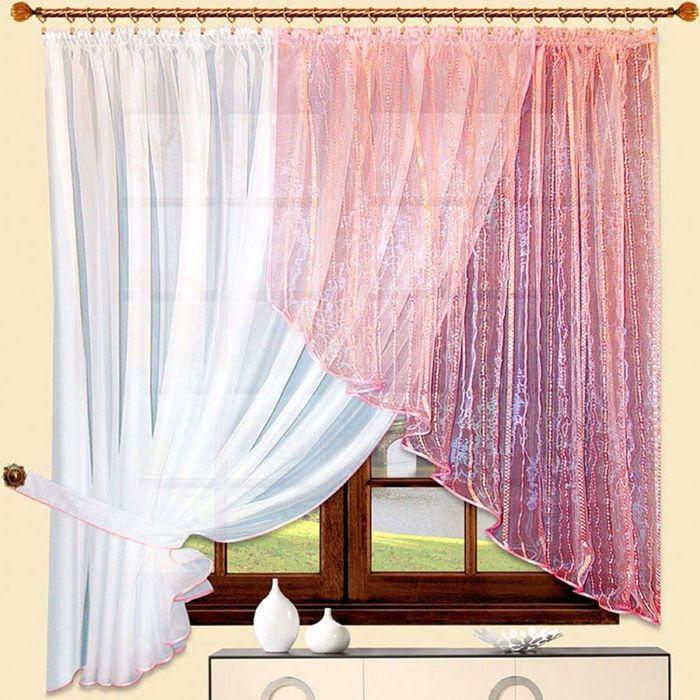 Портьера «Алиса» левая, размер 180 × 350 см - 1 шт, розовый