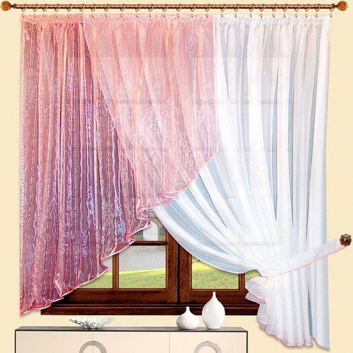 Портьера «Алиса» правая, размер 180 × 350 см - 1 шт, розовый