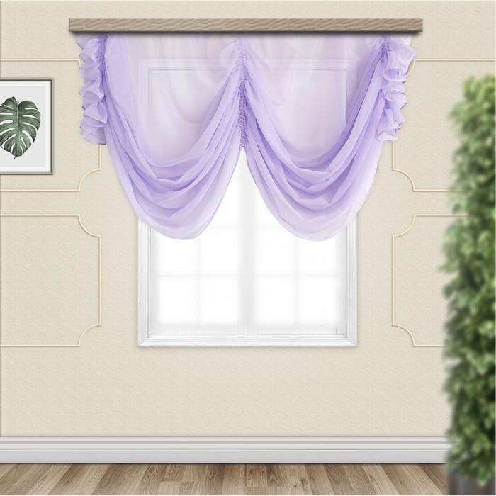 Комплект штор для кухни Классика 280х250 см, сирень, пэ 100%