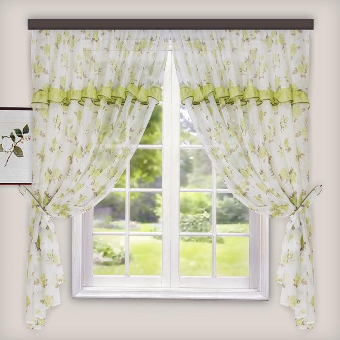 Комплект штор для кухни Цветы 280х160 см, зеленый, пэ 100%