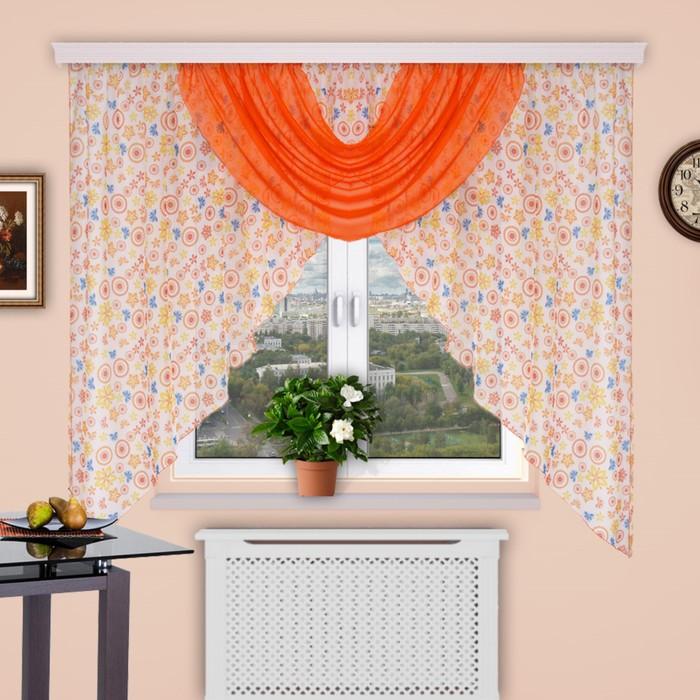 """Штора для кухни """"Парус"""", размер 180х400 см-1 шт., вуаль цвет 140"""