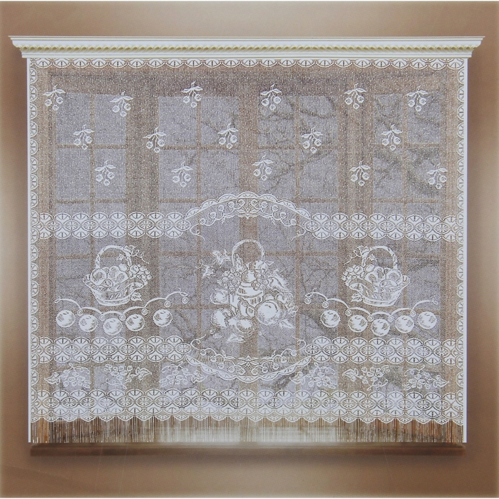 Штора кухонная без шторной ленты, ширина 170 см, высота 160 см, цвет белый