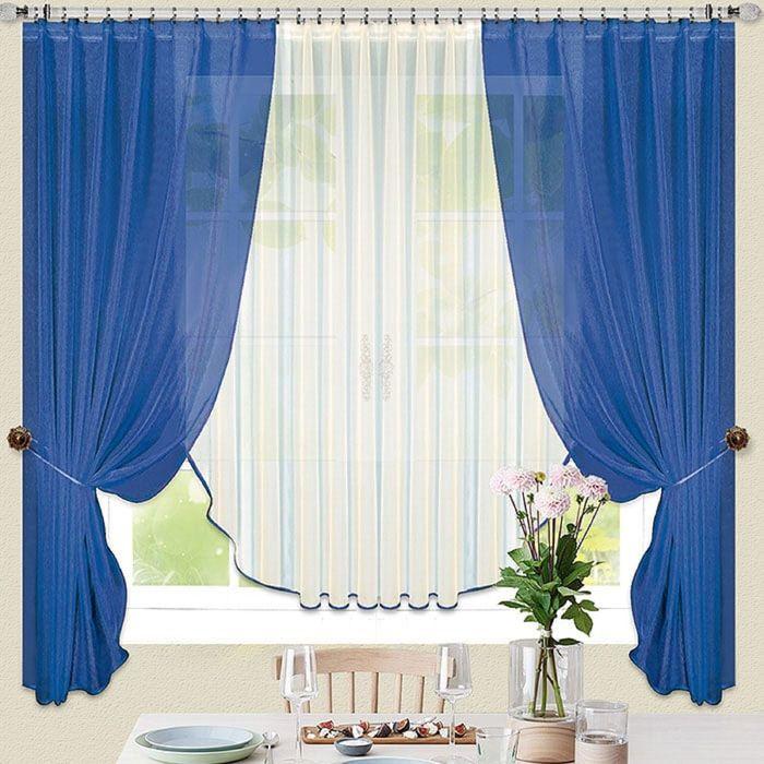Портьера «Тюльпан», размер 480 × 170 см - 1 шт, 2 подхвата, синий
