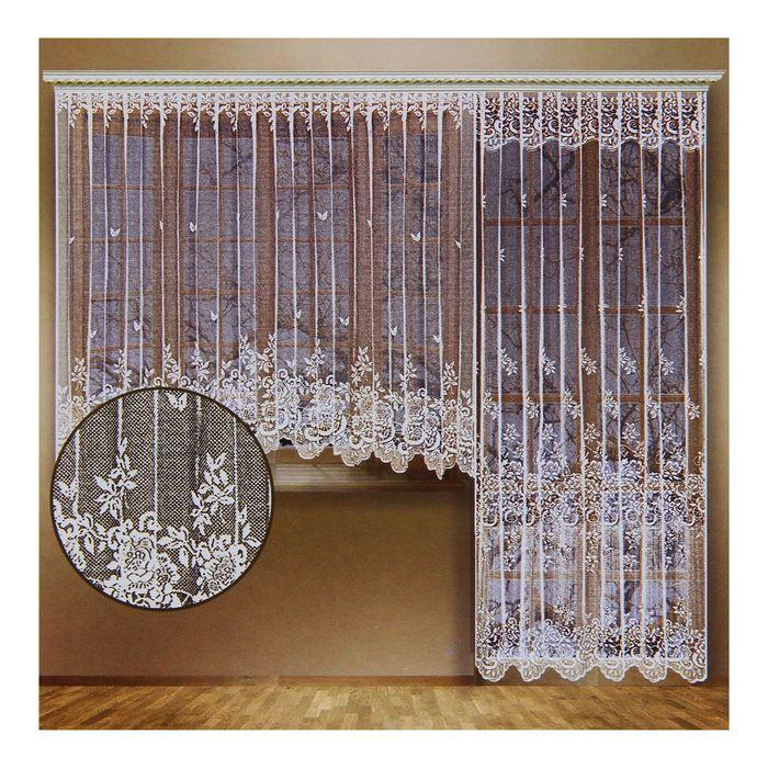 Комплект штор со шторной лентой (занавеска для окна 340х165 см; занавеска для балконной двери 170х250 см), цвет белый