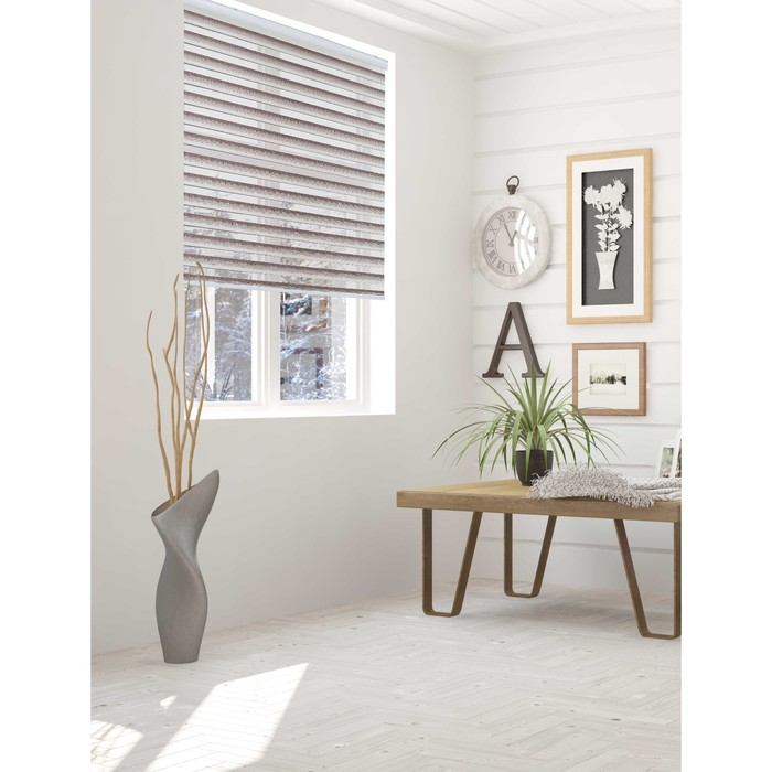 Штора текстильная для кухни день-ночь Триколор 90х160 см, цвет темно-бежевый, пэ 100%