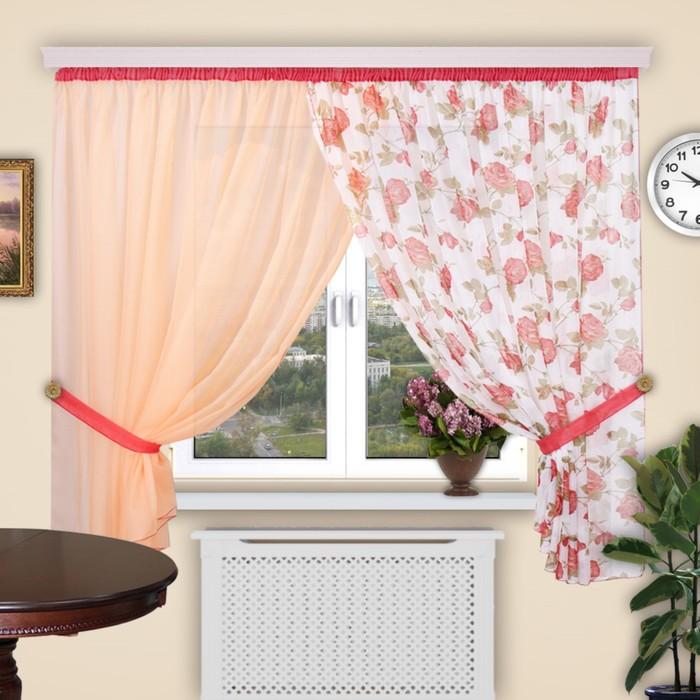 Шторы кухонные «Загадка», 280 × 200 см - 2 шт на 1 шторной ленте, цвет 274