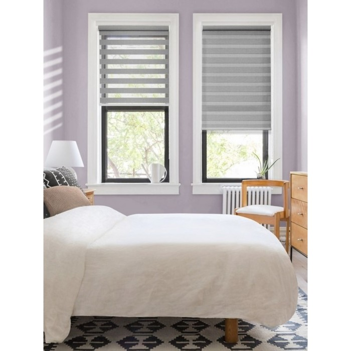 Штора текстильная день-ночь Lizbon, 100х160 см, цвет серый