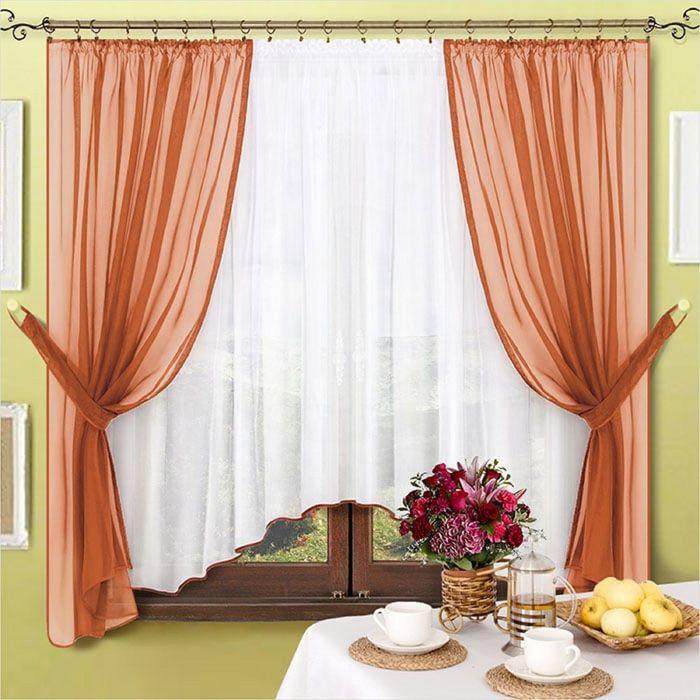 Комплект штор «Лидия», 170 × 140 см - 2 шт, тюль 170 × 400 см, коричневый