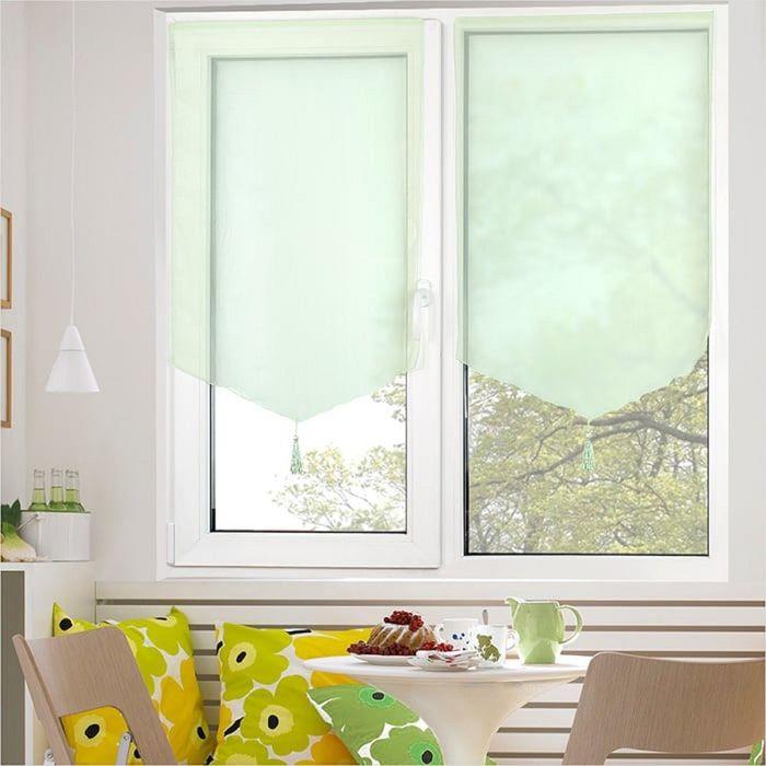 Комплект штор «Гольф» на липкой ленте, 60 × 90 см - 2 шт, салатовый
