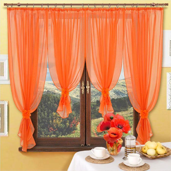 Портьера «Рошен», размер 600 × 170 см - 1 шт, 4 банта, оранжевый