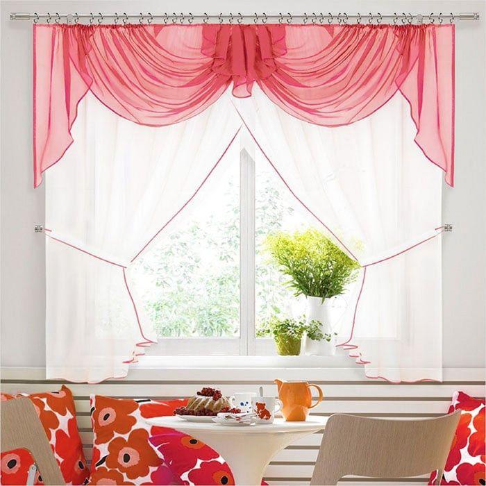 Комплект штор «Юлия-4», 180 × 280 см - 2 шт, ламбрекен 300 см, розовый