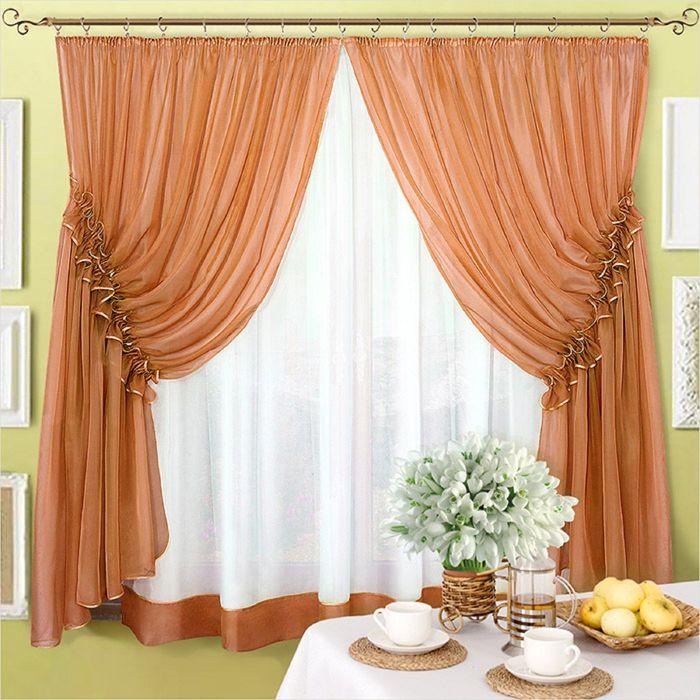 Комплект штор «Луиза», 200 × 250 см - 2 шт, тюль 200 × 280 см, коричневый