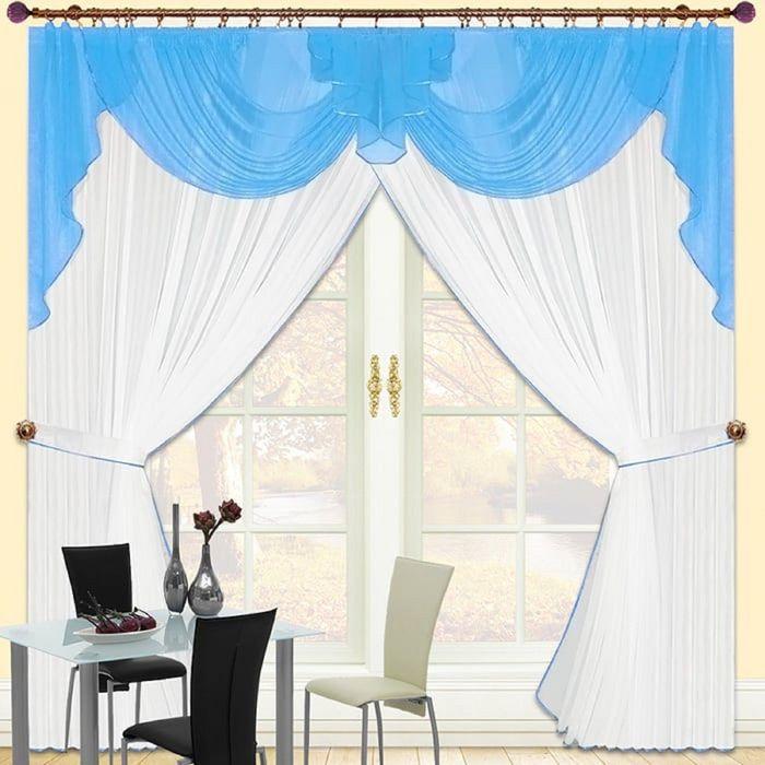 Комплект штор «Юлия-5», 250 × 280 см - 2 шт, ламбрекен 300 см, голубой