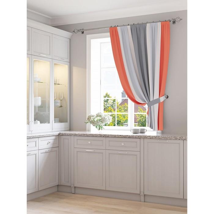 Портьера для кухни «Кордис», размер 150 × 180 см - 1 шт, красно-серый