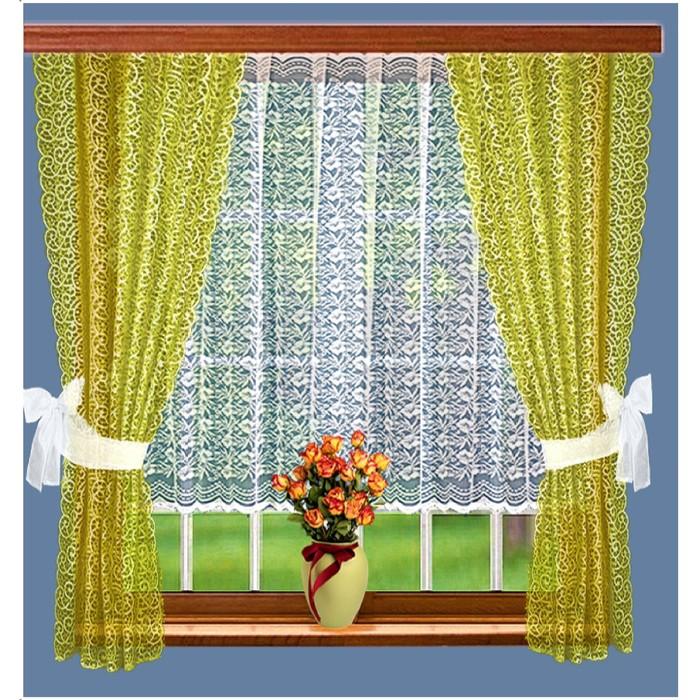 Комплект штор, размер 165 × 160 см - 2 шт, 200 × 100 см, цвет оливковый