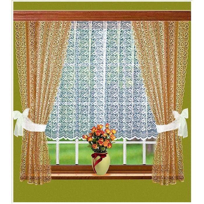 Комплект штор, размер 165 × 160 см - 2 шт, 200 × 100 см, цвет шоколадный