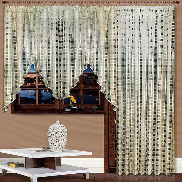 Комплект штор «Трио», 140 × 300 см - 1 шт, 250 × 200 см - 1 шт, клетка, серый