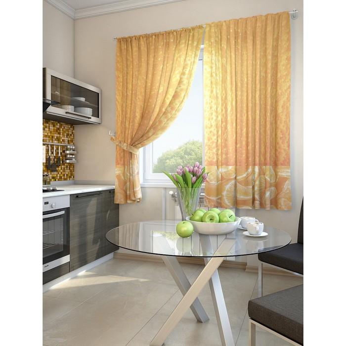 Комплект штор для кухни «Оранж», размер 150 × 180 см - 2 шт