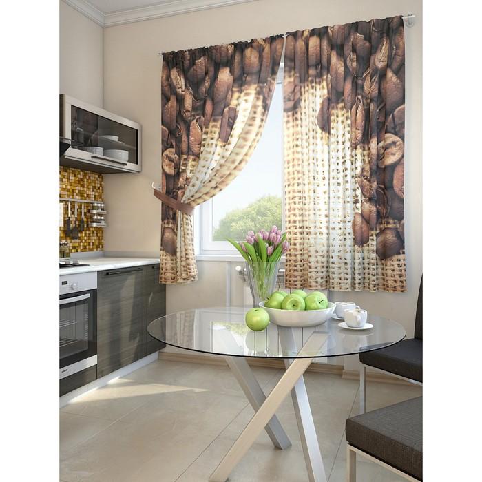 Комплект штор для кухни «Кофе», размер 150 × 180 см - 2 шт