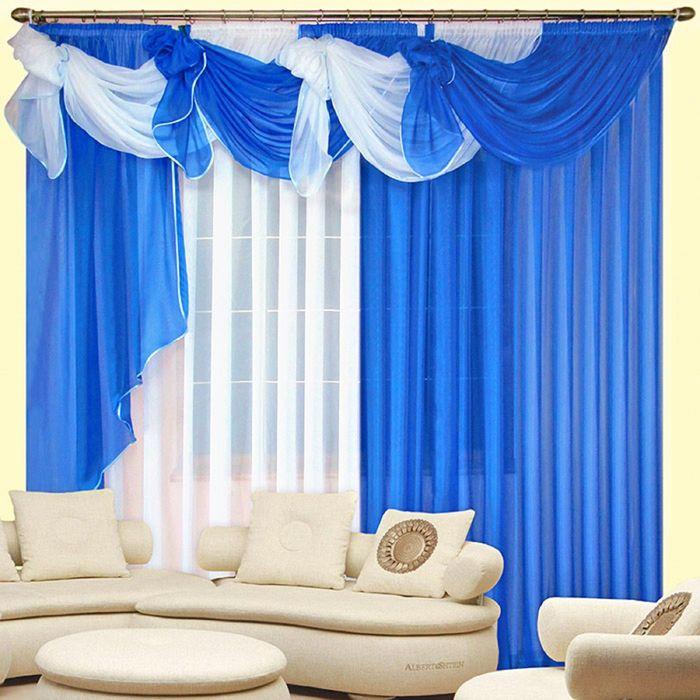 Комплект штор «Бриз», 250 × 280 см - 2 шт, ламбрекен 700 см, синий