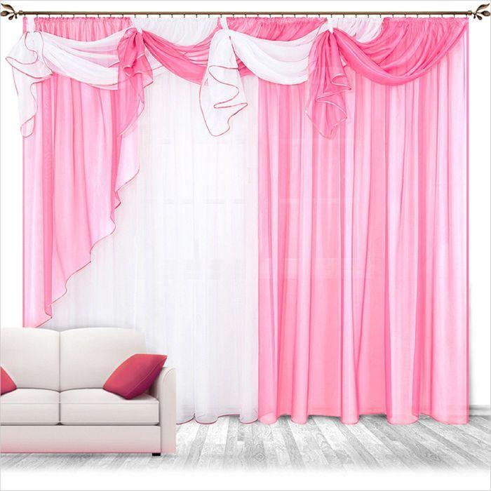 Комплект штор «Бриз», 250 × 280 см - 2 шт, ламбрекен 700 см, розовый