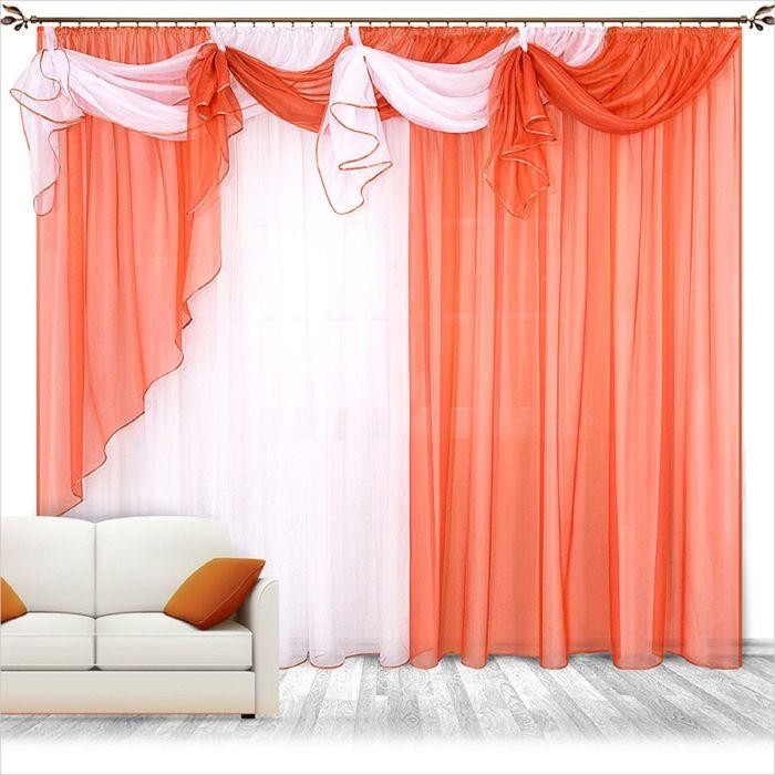 Комплект штор «Бриз», 250 × 280 см - 2 шт, ламбрекен 700 см, терракот