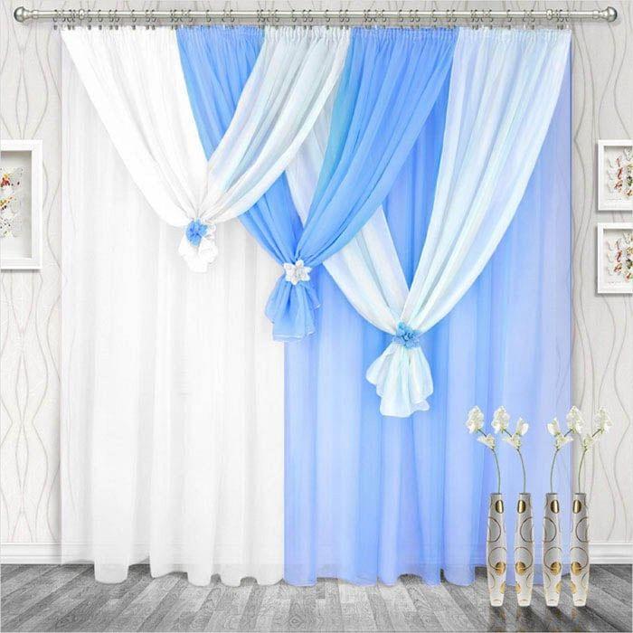 Комплект штор «Весна» правая, 250 × 280 см - 2 шт, ламбрекен 750 см, голубой