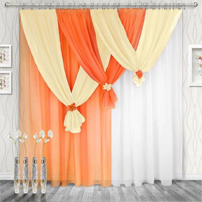 Комплект штор «Весна» левая, 250 × 280 см - 2 шт, ламбрекен 750 см, оранжевый