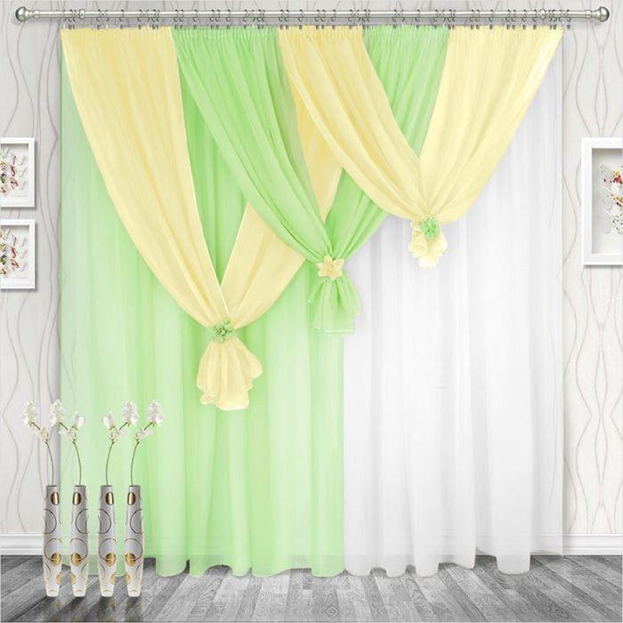 Комплект штор «Весна» левая, 250 × 280 см - 2 шт, ламбрекен 750 см, салатовый