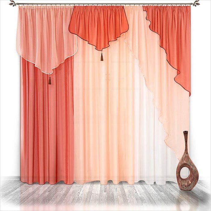 Комплект штор «Натали», 250 × 200 см - 3 шт, ламбрекен 480 см, терракот-персик