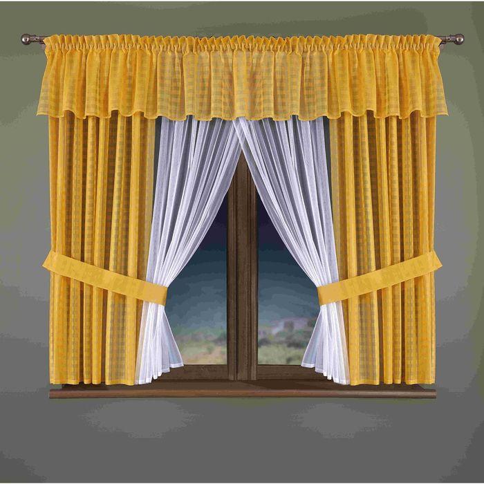 Комплект штор, 150 × 170 см - 2 шт, тюль 150 × 170 см, ламбрекен 400 × 40 см, жёлтый