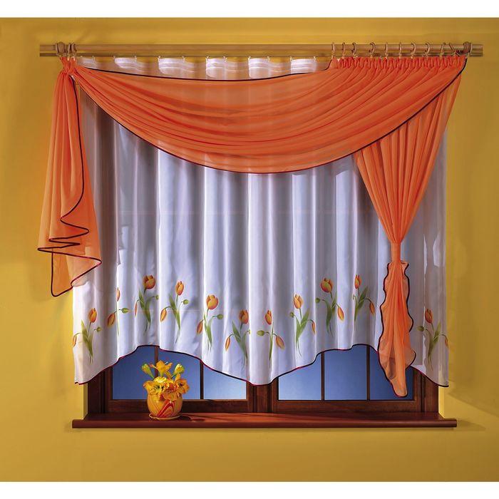 Комплект штор, 160 × 180 см, ламбрекен 50 × 180 см, оранжевый