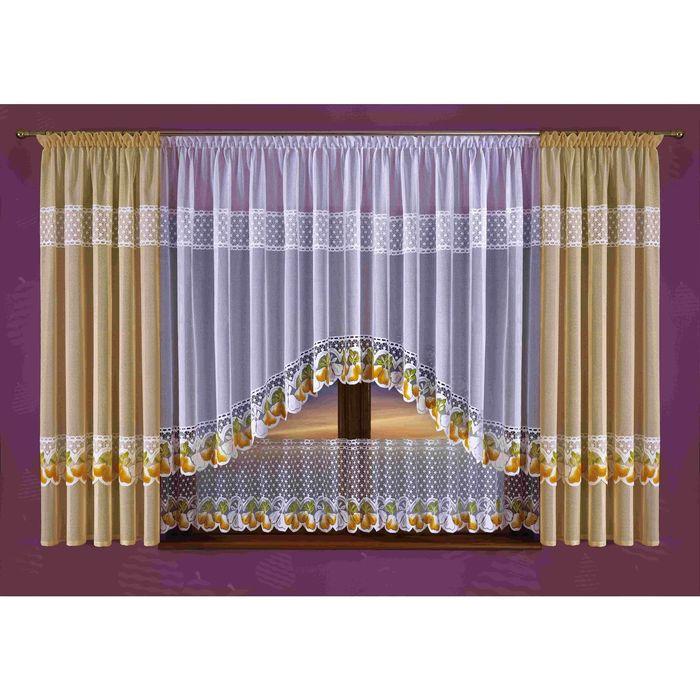 Комплект штор, 145 × 190 см - 2 шт, тюль 300 × 160 см, ламбрекен 300 × 45 см, бежевый