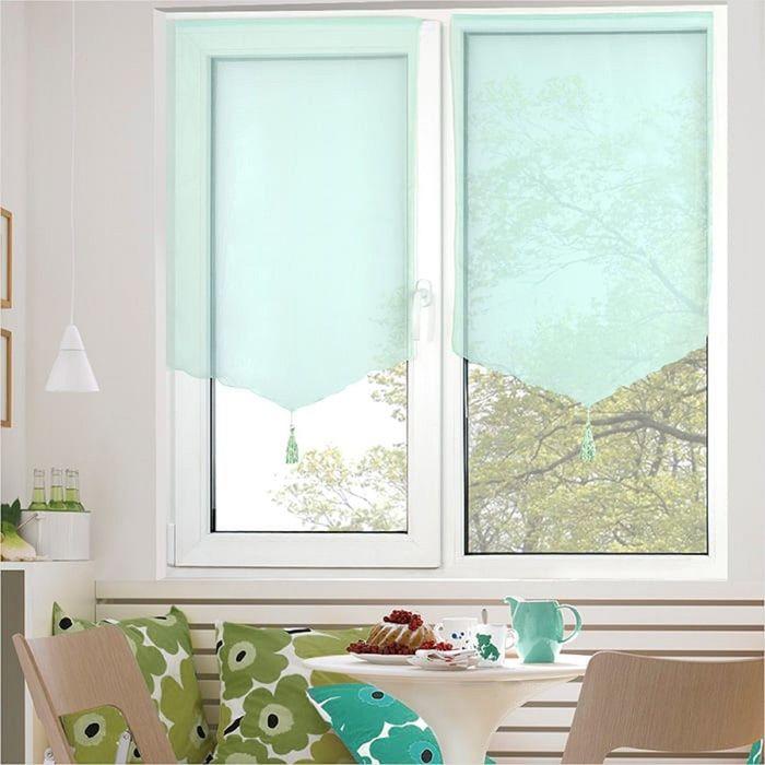 Комплект штор «Гольф» на липкой ленте, 60 × 120 см - 2 шт, бирюзовый