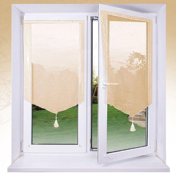 Комплект штор «Гольф» на липкой ленте, 60 × 120 см - 2 шт, персиковый