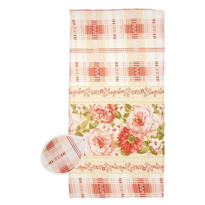 Набор вафельный «Кремовая роза» (полотенце 38х73 см, прихватка 23 см)