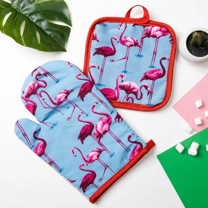 """Кух. набор 2 пр. Доляна """"Фламинго""""цв.голубой,прихватка 16*16 см, рукавица 26*16 см,100% п/э   384062"""