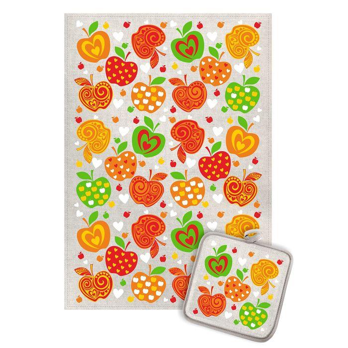 Кухонный набор Яблочки (полотенце 45х60+прихватка 18х18) полулен, 160г/м