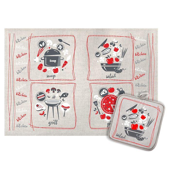 Кухонный набор Ингридиенты (полотенце 45х60+прихватка 18х18) полулен, 160г/м