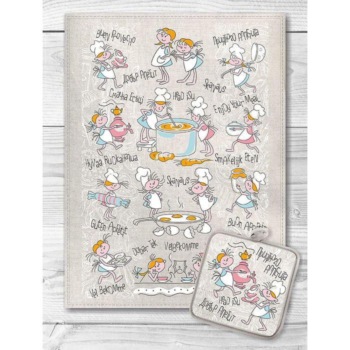 Кухонный набор Девочки поворята (полотенце 45х60+прихватка 18х18) полулен, 160г/м
