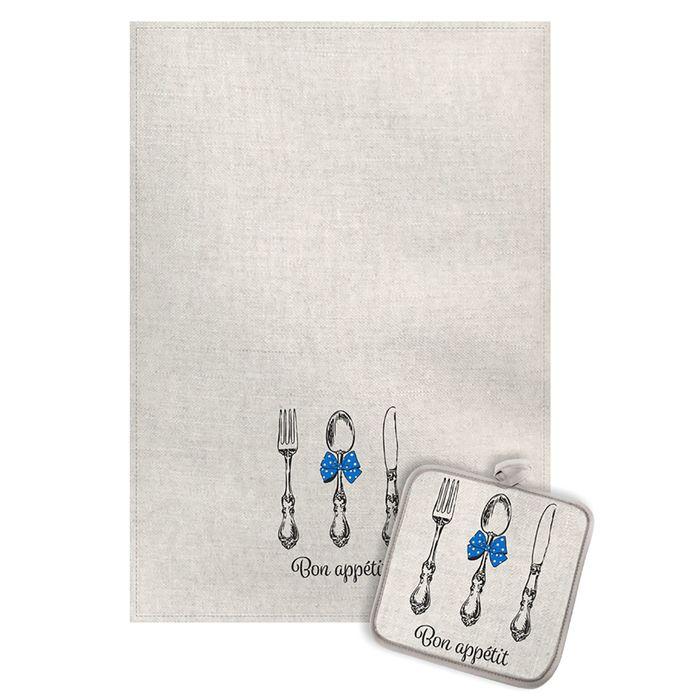 Кухонный набор Приборы с синим бантиком (полотенце 45х60+прихватка 18х18) полулен, 160г/м