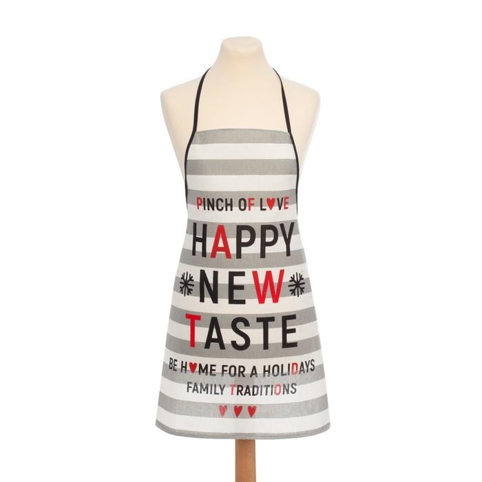 "Кух.набор ""Happy New Taste"" фартук 67х60см, полот.60х38см,100% хл 160 г/м2, рогожка"