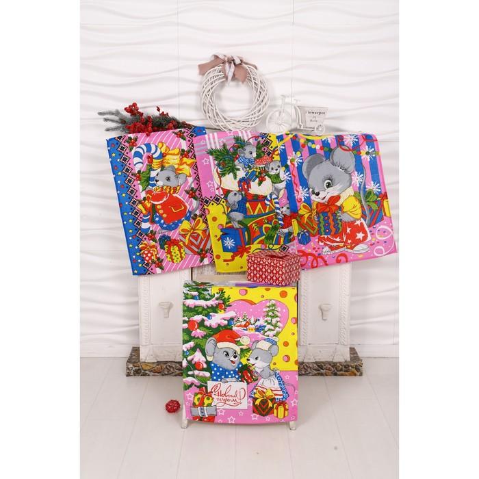 Набор полотенец вафельных Мыши Зима 40х60 см 4 шт (пакет), розовый, хлопок 100%, 170 гр/м7